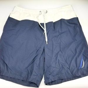 Nautica Mens Swim Board Shorts Spellout Blue sz L